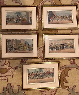 19th Century English Giltwood Framed Etchings Hand Colored S/5