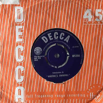 Decca Promotional Record - Introduction to Winston S Churchill - 1960 CP2389 Ex