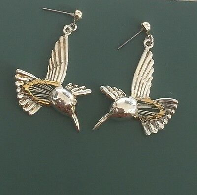Lovely Vintage Humming Bird Dangle Earrings In Silver Wire On Gold Tone Metal