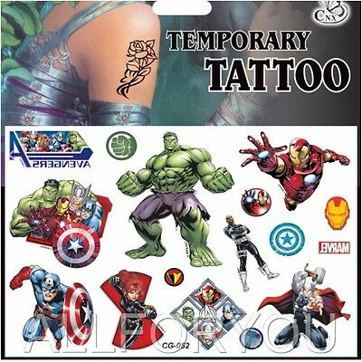 1,2,3,5 x Avengers Temporary Tattoo Sheets Kids Children Birthday Party Bag