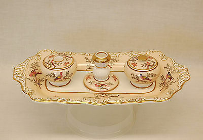 19th Century Ladies Porcelain Inkstand with Flowers and Birds in Mint Condition