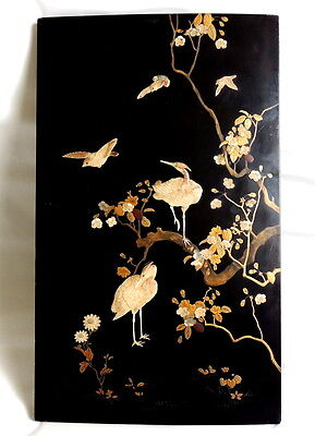 OLD Japanese carved ANTLER & mother-of-pearl inlaid SHIBAYAMA cranes-birds PANEL