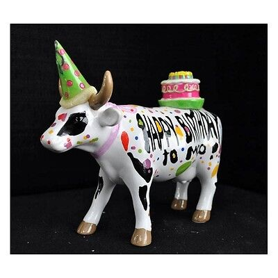 """New COW PARADE Large Figurine HAPPY BIRTHDAY TO MOO Artist Statue 6""""x5""""x2"""" GIFT"""
