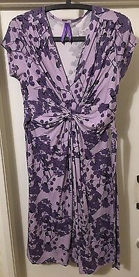 Seraphine Lavender Blossom Knot Front Maternity Dress Size 8 RRP £52