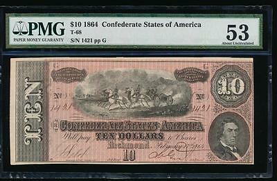 AC T-68 $10 1864 Confederate Currency CSA PMG 53 comment