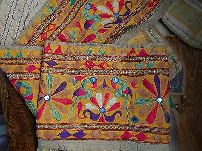 Old Nepalese Hand Stiched Embroidered Door Hanging   2.2 Meters X 45 Cms