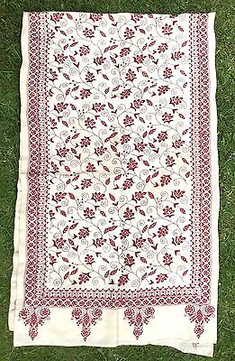 Antique Vintage Hand Embroidered Table Cloth / Runner