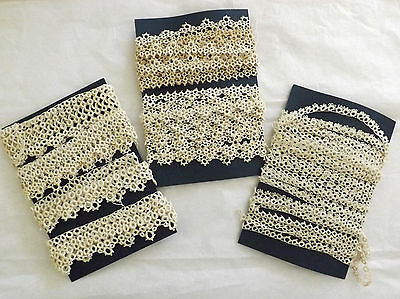 """Lot Antique Tatted Lace Edging 22 Yards 1/2"""" to 1 1/2"""" Wide"""