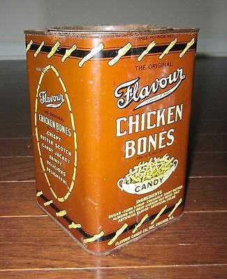 Flavour CHICKEN Bones CANDY Metal Tin 1950s RARE Large Early Advertising CHICAGO