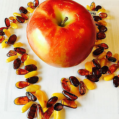 Genuine Vintage Baltic Amber Necklace Beads Butterscotch Egg Yolk Russian Polish