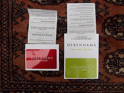 2 Debenhams gift cards, vouchers, credit notes total £186.00
