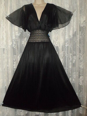 Vtg Black BUTTER SOFT Nightgown Negligee Gown w Chiffon Flutter sleeves Lace XL+