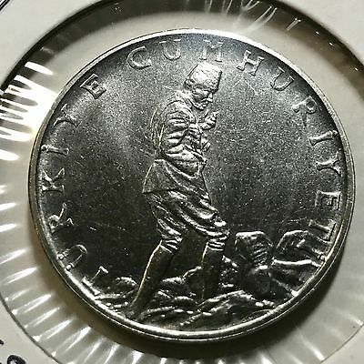 1960 Turkey 2 1/2 Lira Brilliant Uncirculated Stainless Steel Scarce Coin