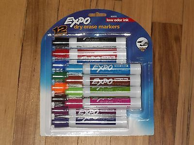 Expo Low-Odor Dry Erase Markers, Chisel Tip, 12-Pack, Assorted Colors 80699