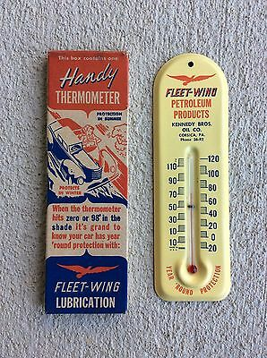 NOS - FLEET WING Motor Oil / Gasoline Thermometer - Gas & Oil Sign