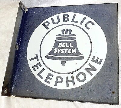 """Pay Phone Porcelain Double Sided Sign """"Public Telephone, Bell System"""", 11"""" X 11"""""""