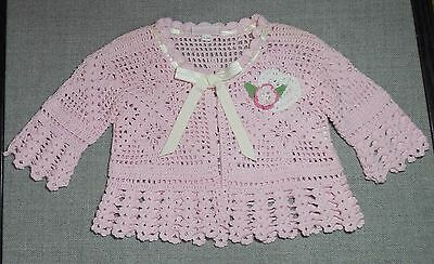 Cachcach Infant Girls Soft Pink Crocheted Sweater Sz 6-9/m Euc