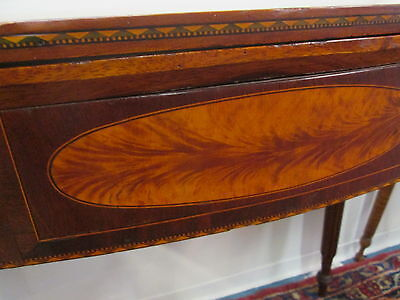 Antique American Federal Inlaid Sheraton Card Table_Seymour School_Circa 1800