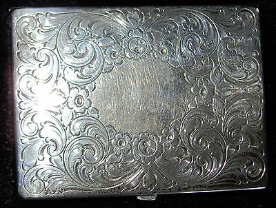 Vintage Sterling Silver RB R Blackinton Co Etched Flower Powder Mirror Compact