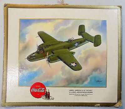 COCA-COLA art print B-25 MITCHELL US ARMY BOMBER advertising aviation 1940's WW2
