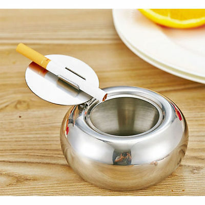 Portable Car Windproof Ashtray Smokeless Holder with Lid Stainless Steel Gift