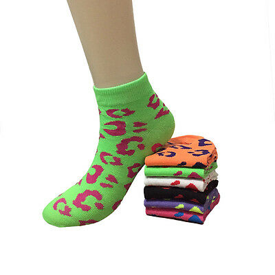 New Lot 12 Pairs Fashion Womens Spot Multi Color Ankle Socks Girls Size 9-11