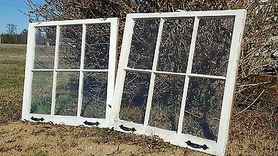 VINTAGE SASH ANTIQUE WOOD WINDOW UNIQUE FRAME PINTEREST WEDDING  32x27 SET OF 2