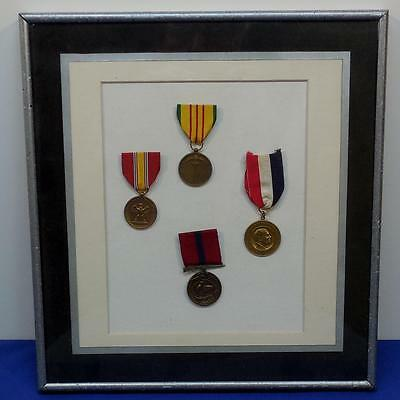 Lot of (4) 3 / US Medals and 1 Civilian Medal Framed