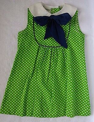 Kate Greenaway Vintage Girls Sun Dress Green White Polka Dot Navy Bow Sz 5 6