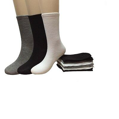 New 12 Pairs Womens Fashion Black White Gray Color Girls Crew Socks Size 9-11