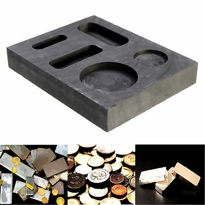 5 in 1 Gold Melting Graphite Ingot Casting Refining Scrap Bar & Coin Combo Mold