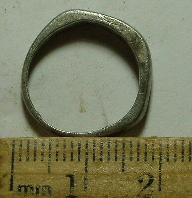 Genuine Ancient Roman SILVER wedding band Ring artifact size 6 fertility amulet