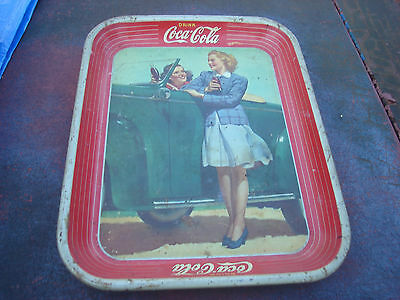 "Vintage 1942 ""drink Coca-Cola"" Two Girls At Car Tin Tray"