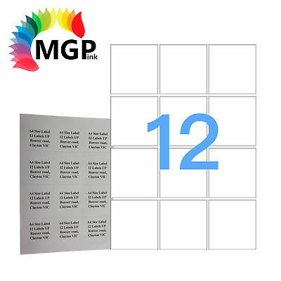 100 Sheets 12 Labels Per Page 1200 Labels 63.5x72mm A4 Office Mailing Labels
