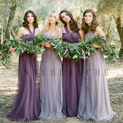 Bridesmaid Formal Ball Gown Party Cocktail Evening Prom Dresses Size 6-24 Purple