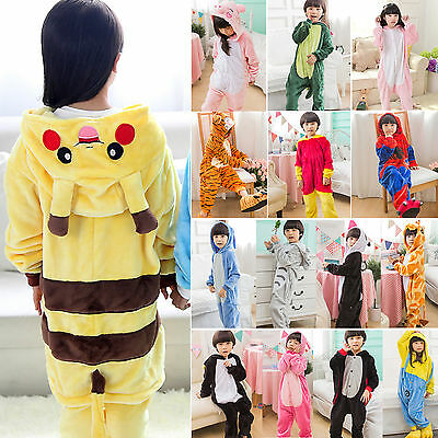Kids Boy Girl Animal Pajamas Costume Pokemon Pikachu Onesie Kigurumi Charmander