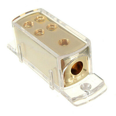4-Way Car Stereo Audio Amp Power/Ground Cable Splitter Distribution Block + Cap