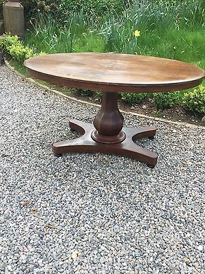 Antique Inlaid Oval Pedestal Coffee Table