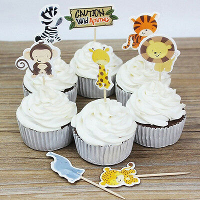 24Pcs Animal Zoo Party Cupcake Toppers Picks Decoration For Baby Kids Birthday
