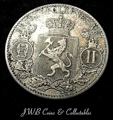 1898 Norway Silver 25 Ore Coin
