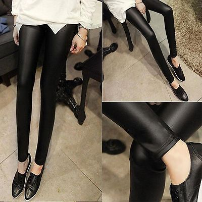Cool Punk Sexy Skinny Black Women Pants Faux Leather Leggings Stretchy