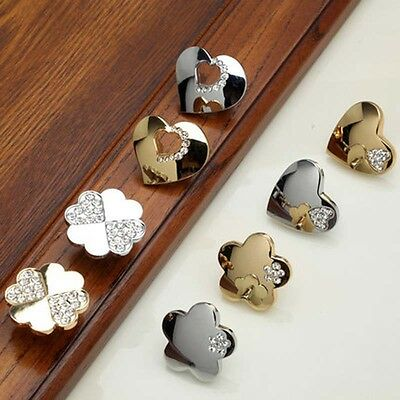 Silver and Golden Crystal Single Hole Door Handles Cabinet Cupboard Knobs Pulls