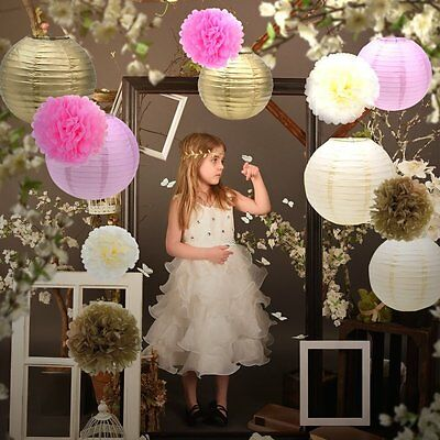 Outus Tissue Paper Pom Pom Flowers And Paper Lanterns Party Decoration 12 Piece