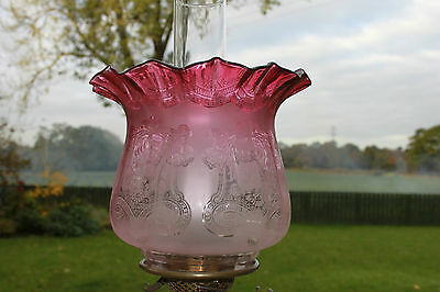 Deep Ruby Large Victorian Oil Lamp Shade