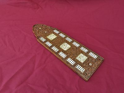 Antique Carved Wooden Chinese Cribbage Board with Insets