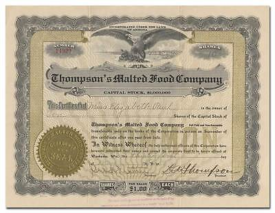 Thompson's Malted Food Company Stock Certificate (Waukesha, WI)