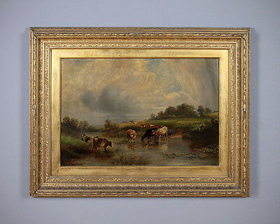 Large Antique Oil Painting of Cattle by a River c.1880.