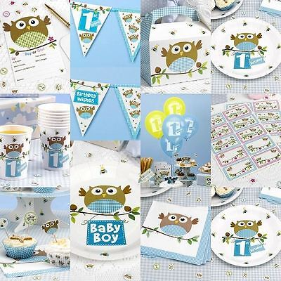 Little Owl Blue Baby Shower Birthday Party Tableware Boys Decorations Supplies