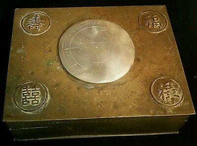 Antique Chinese Brass Cigarette Box with engraved   Jade Disc