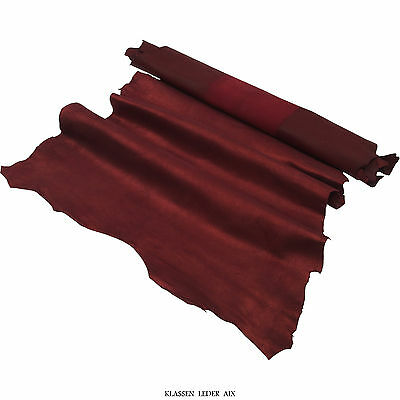 Lammleder 0,9 mm Dick Veloursleder Bordo Metallic Echt Leder Haut Leather B140